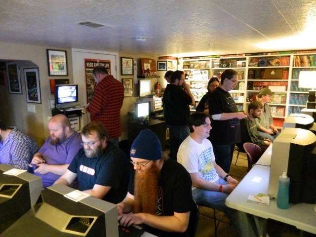 This room is full of beastly players. In this picture, I'm playing Marble Madness on the NES and having the run of my life, 95610 points. It only got me third place in that game.