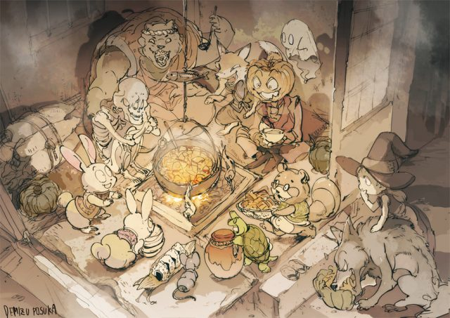 Here's a good desktop wallpaper. Animals and monsters, just chillin' and eating dinner. I'm cool with this. If this was a Mystery Dungeon game, that witch girl would have just picked a fight with the entire room.