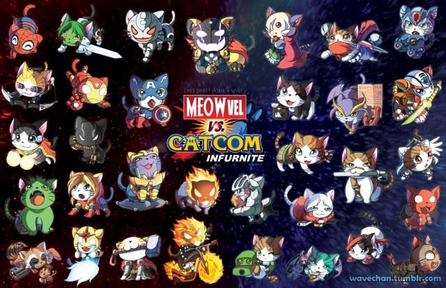You came back! I realized while writing the PiNe post that my most recent artist post was this one, so I updated it in case anyone came back and looked. Since then, Marvel vs Capcom Infinite came out and Wave gave it the Meowvel treatment.