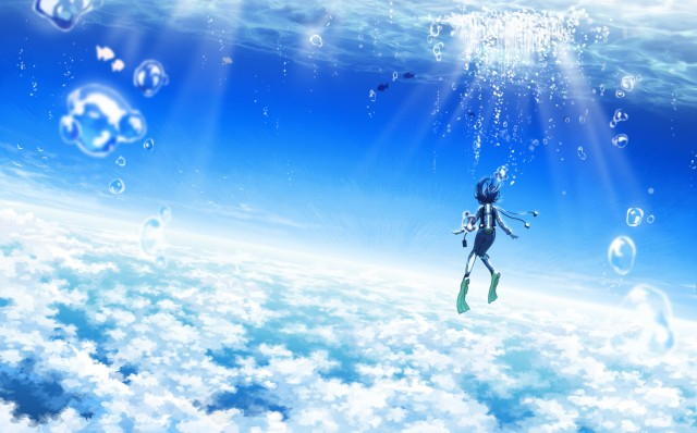 Here's a place that does NOT exist. Are we skydiving or scuba diving? Or both? Whatever it is, it's cool! The artist also has one of scuba diving in space.