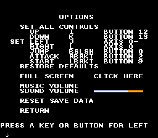 I thought about embedding the game here instead of this image, but I don't want random menu sounds to trigger when you're scrolling around the page. Click this to open Skeleton Hunter v1.02, which has this options menu.